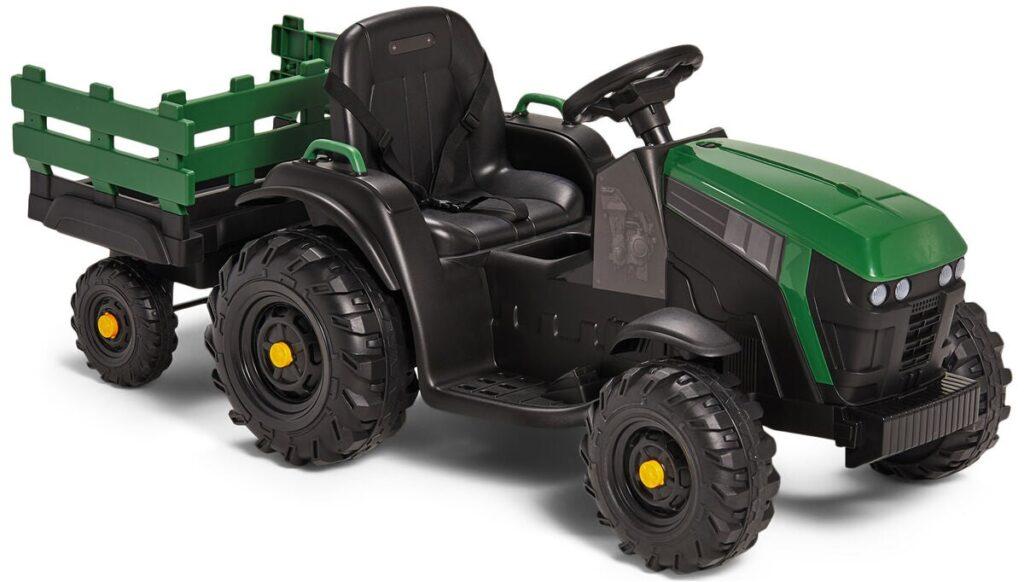 Elbil traktor med släpvagn, Grön